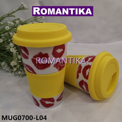 READY STOCK Cawan Porselin dengan Tudung Silicon Penutup Porcelain Cup with Sleeve & Silicone Lid